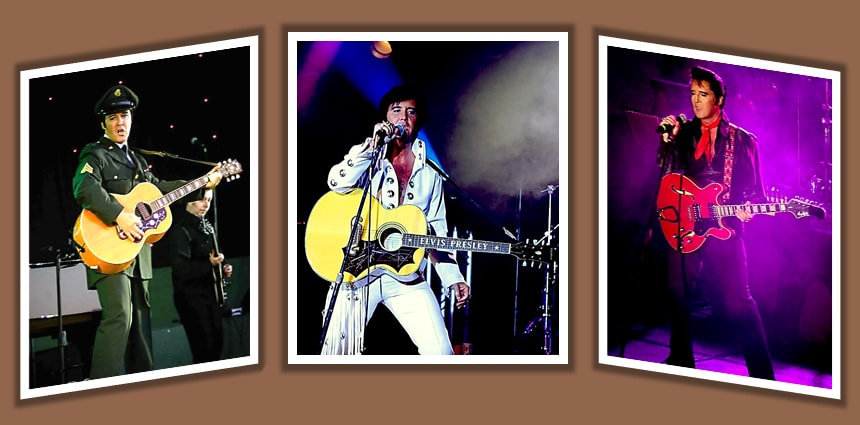 Banner showing 3 stills from the Through The Decades with Elvis show